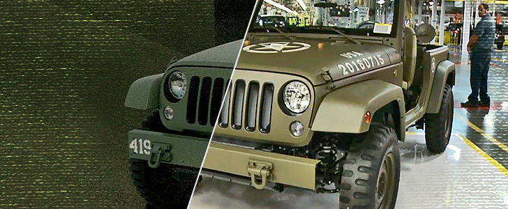 Comparación del Jeep Willys concept entre renderizado y real.