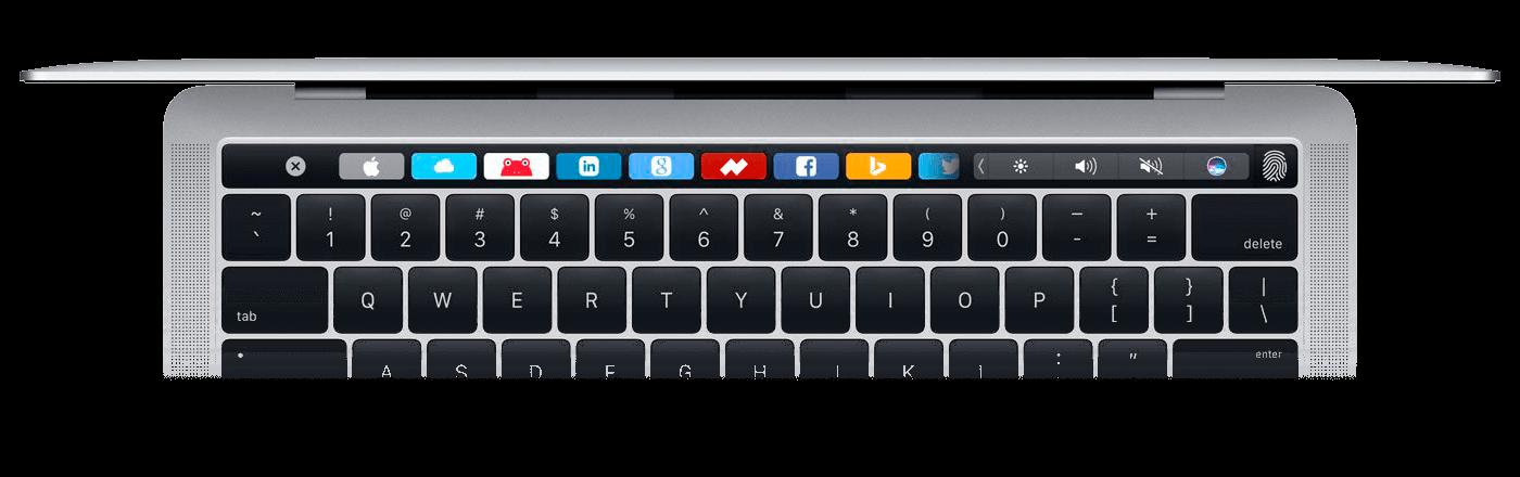 La touch bar con nuestro icono incorporado